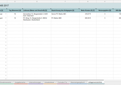 Anlagenverzeichnis
