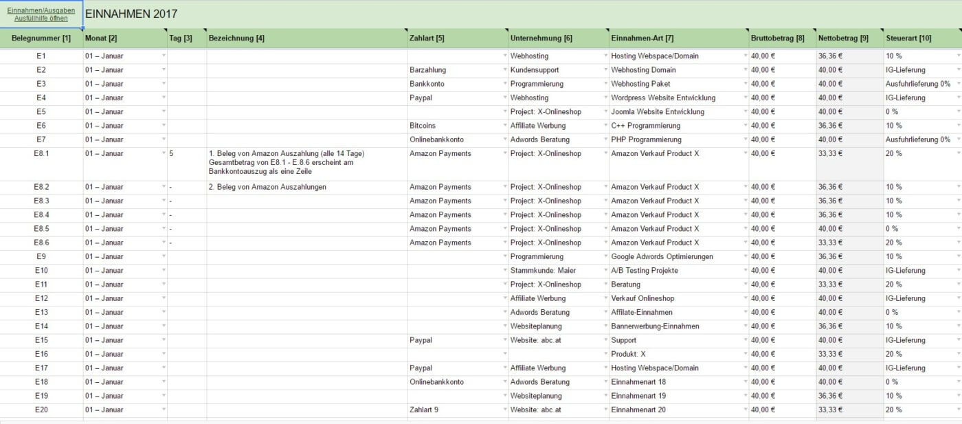Einnahmen Und Ausgaben Eingeben Ea Tabelle